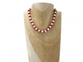 Snow White Agate & Red Rondelle Discs Beaded Necklace | Silver Sensations